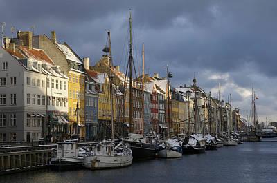 Denmark, Copenhagen, Nyhavn, Boats Art Print by Keenpress