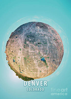 Denver 3d Little Planet 360-degree Sphere Panorama Art Print by Frank Ramspott