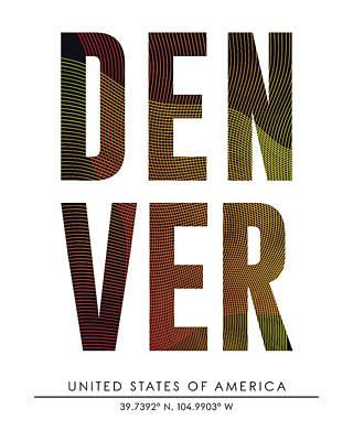 Denver City Print With Coordinates Art Print