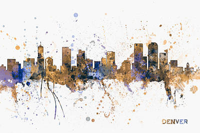 Denver Skyline Wall Art - Digital Art - Denver Colorado Skyline Cityscape by Michael Tompsett
