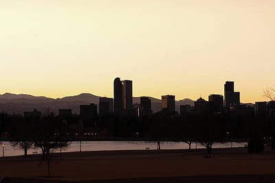 Photograph - Denver Downtown Skyline At Sunrise - Black And White by Gregory Ballos