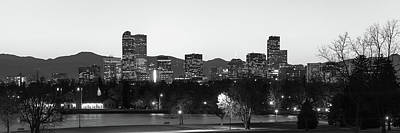 Cityscape Photograph - Denver Skyline Night Panorama - Colorado Photography Black And White by Gregory Ballos