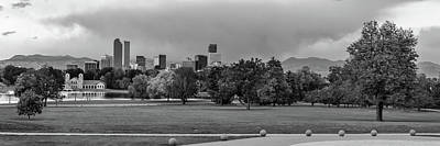 Photograph - Denver Skyline Sunrise Panorama In Autumn In Black And White by Gregory Ballos