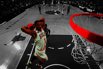 Mj Mixed Media - Derrick Rose Taking Flight by Brian Reaves