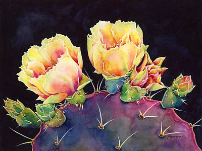 Prickly Pear Painting - Desert Bloom 2 by Hailey E Herrera