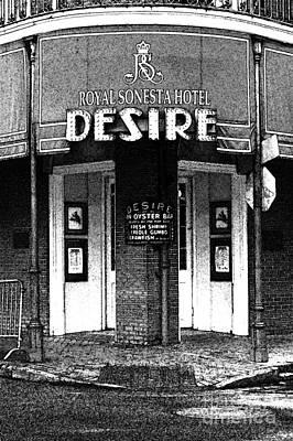 Desire Corner Bourbon Street French Quarter New Orleans Black And White Fresco Digital Art Art Print by Shawn O'Brien