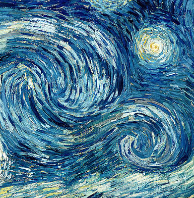 Moonlit Painting - Detail Of The Starry Night by Vincent Van Gogh