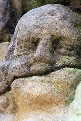 Rock Altar Photograph - Detail Of The Stone Head by Michal Boubin