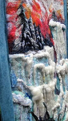 Needle Felting Tapestry - Textile - Detail Of Winter by Kimberly Simon