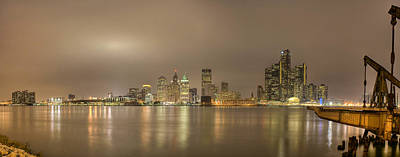Detroit At Night Art Print by Andreas Freund