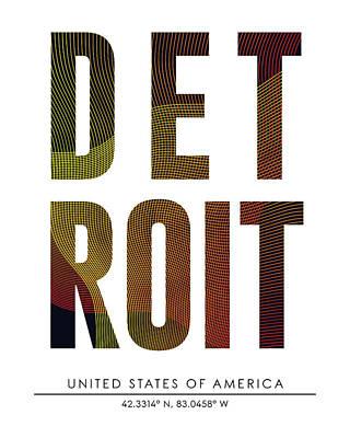 Detroit City Print With Coordinates Art Print