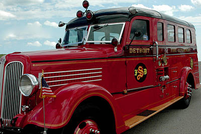 Detroit Fire Truck Art Print