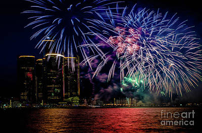 Photograph - Detroit Fireworks by Grace Grogan