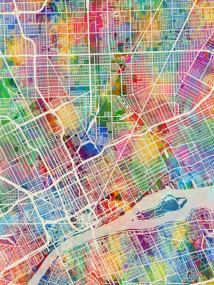Detroit Wall Art - Digital Art - Detroit Michigan City Map by Michael Tompsett