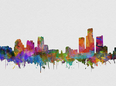 Painting - Detroit Skyline Watercolor 3 by Bekim Art