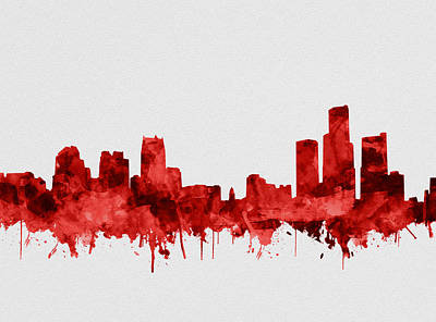 Painting - Detroit Skyline Watercolor Red by Bekim Art