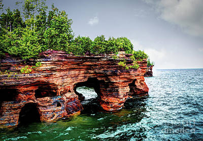 Photograph - Devil's Island Sea Caves by Deborah Klubertanz