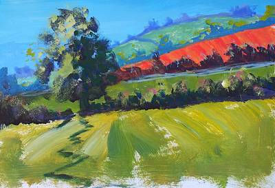 Painting - Devon Landscape Painting With Red Ploughed Field by Mike Jory