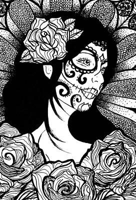 Sugar Skull Girl Drawing - Dia De Los Muertos by Brittany Prichard