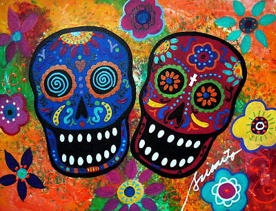 Dia De Los Muertos Couple Print by Pristine Cartera Turkus