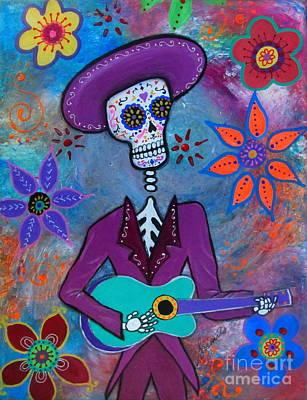Painting - Dia De Los Muertos Mariachi by Pristine Cartera Turkus