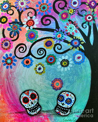 Painting - Dia De Los Muertos Wedding Couple by Pristine Cartera Turkus