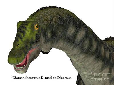 Diamantinasaurus Dinosaur Head Art Print