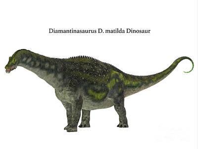 Diamantinasaurus Dinosaur Side Profile Art Print