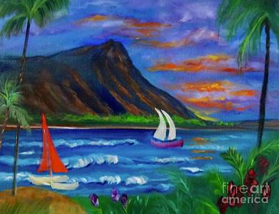 Painting - Diamond Head Sunrise by Jenny Lee