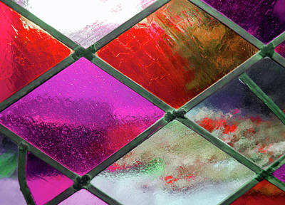 Photograph - Diamond Pane Glass Red by JAMART Photography