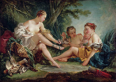 Lady Diana Painting - Diana After The Hunt by Francois Boucher