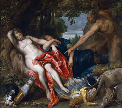 Diana And Endymion Surprised By A Satyr Art Print by Anthony van Dyck