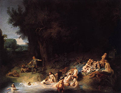 Nymph Painting - Diana Bathing With Her Nymphs by Rembrandt van Rijn