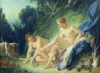 Plump Women Wall Art - Painting - Diana Getting Out Of Her Bath by Francois Boucher