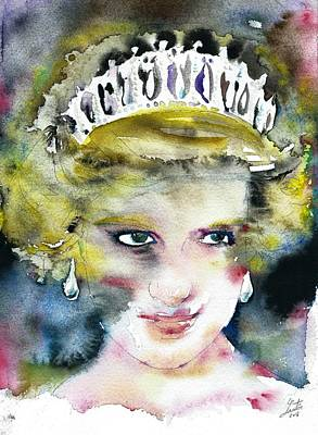 Painting - Diana - Princess Of Wales - Watercolor Portrait.7 by Fabrizio Cassetta