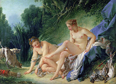 Nude Painting - Diana Resting After Her Bath by Francois Boucher