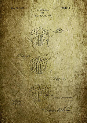 Kitchen Mark Rogan Rights Managed Images - Dice patent from 1923 Royalty-Free Image by Chris Smith