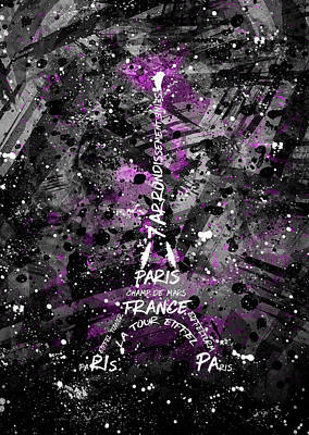 Digital Art Eiffel Tower Art Print