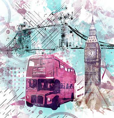 Old Town Digital Art - Digital-art London Composing  by Melanie Viola