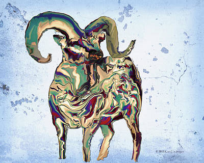 Digital Bighorn Ram Art Print