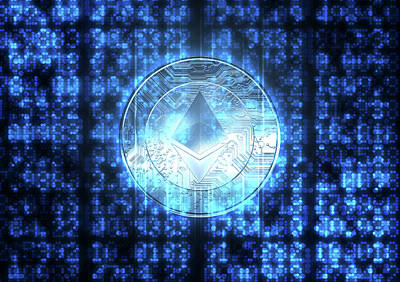 Hologram Digital Art - Digital Data Figures And Cryptocurrency Hologram by Allan Swart