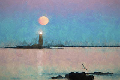 Photograph - Digital Painting Of Maine Lighthouse by Jeff Folger