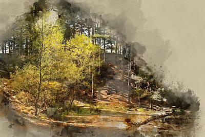 Photograph - Digital Watercolor Painting Of Beautiful Vibrant Landscape Image by Matthew Gibson
