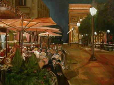 Champs Elysees Painting - Dinner In Paris by Anna Kowalewicz