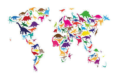 Dinosaur Map Of The World Map Art Print by Michael Tompsett