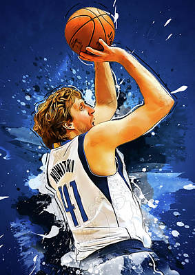 Los Angeles Lakers Digital Art - Dirk Nowitzki by Semih Yurdabak