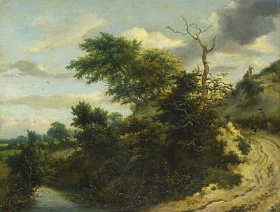 Riverside Painting - Dirt Road In The Dunes by Jacob van Ruisdael