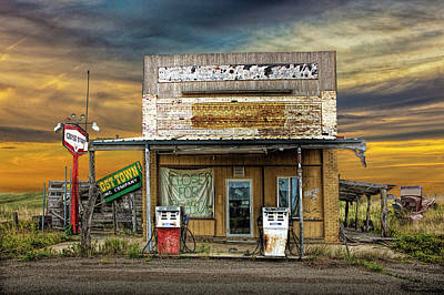 Photograph - Abandoned Gas Station At The Ghost Town In Okaton South Dakota by Randall Nyhof