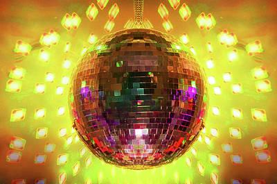 Disco Photograph - Disco Ball Yellow by Andee Design