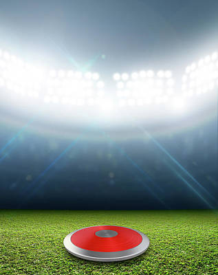 Disc Digital Art - Discus In Generic Floodlit Stadium by Allan Swart